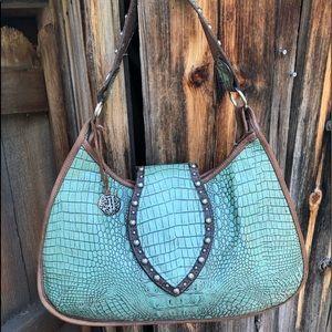 DOUBLE J Saddlery Large Turquoise Gator Hobo Bag